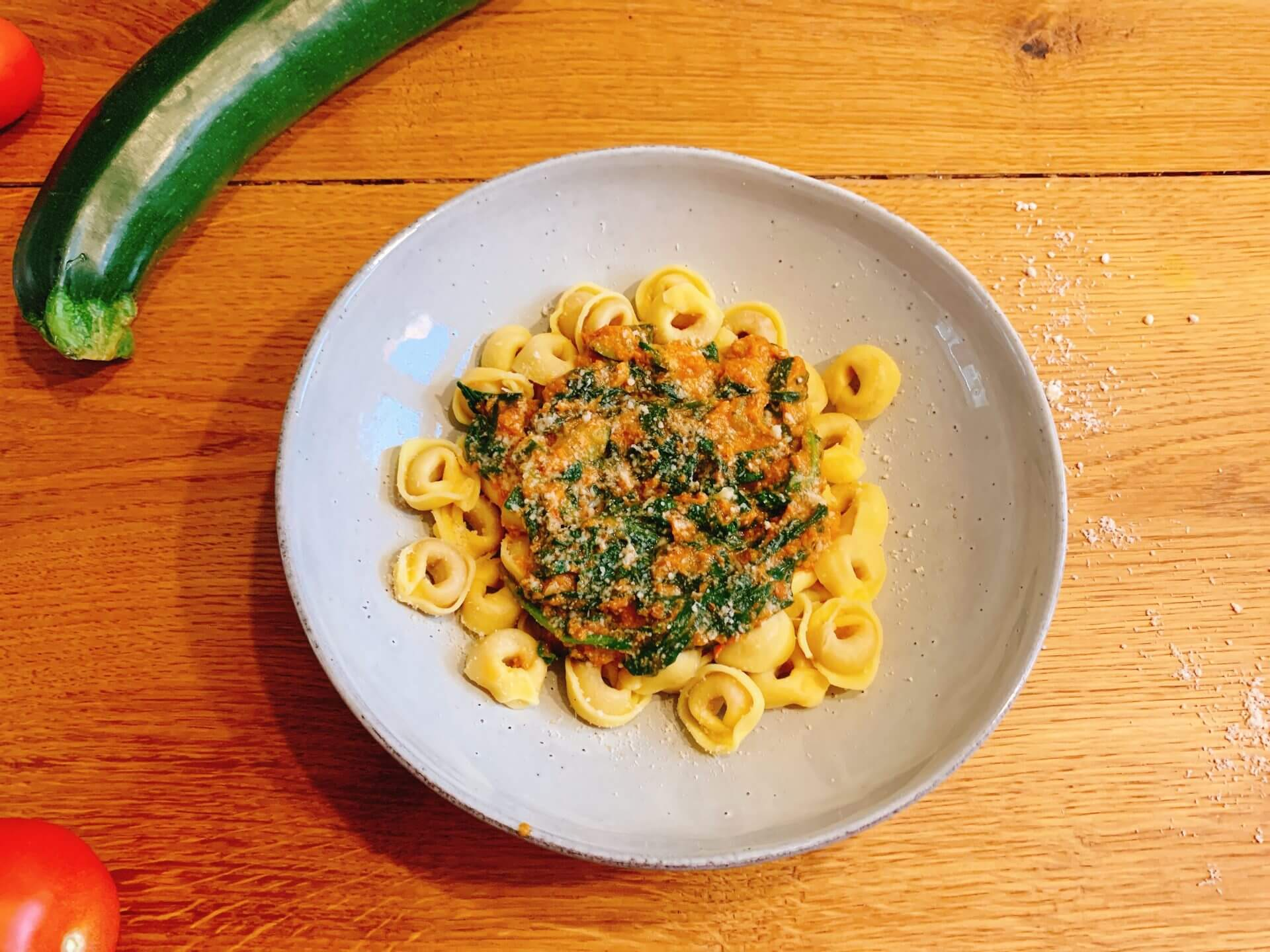 Tortellini met spinazie