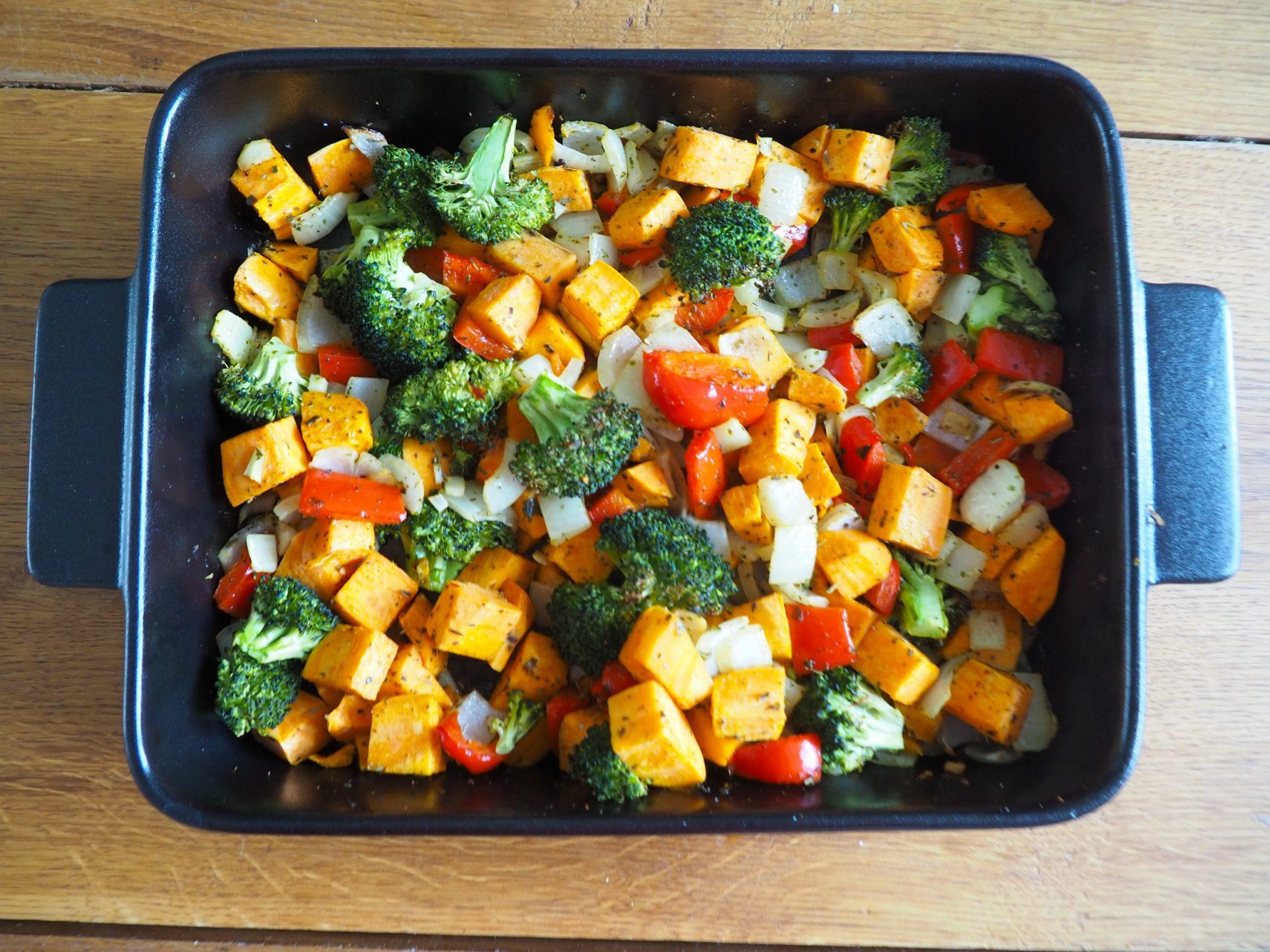 Ovengroenten met zoete aardappel en paprika